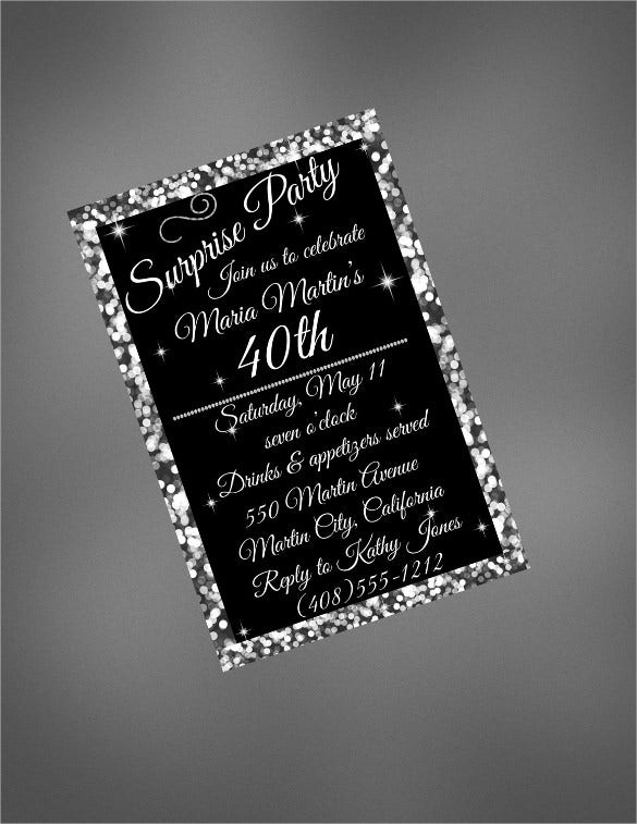 Silver Glittered 40th Birthday Invitation Template