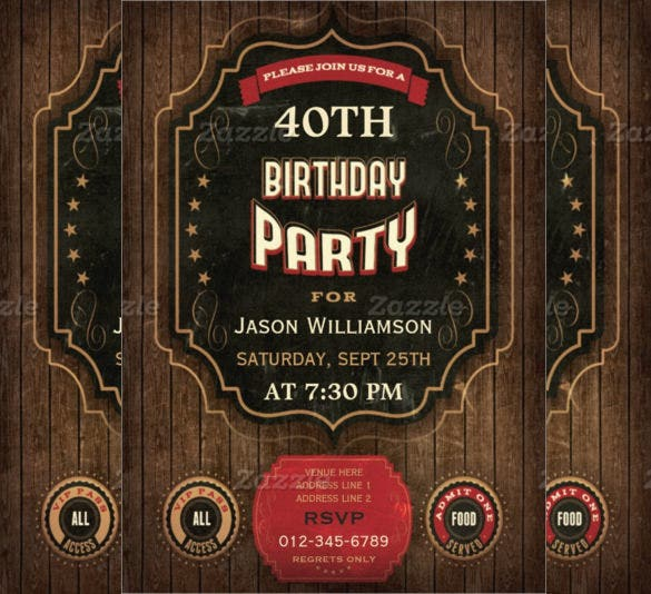 Chalkboard Wood Vintage 40th Birthday Invitation