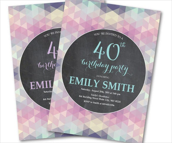 Pink Purple Women 40th Birthday Invitation