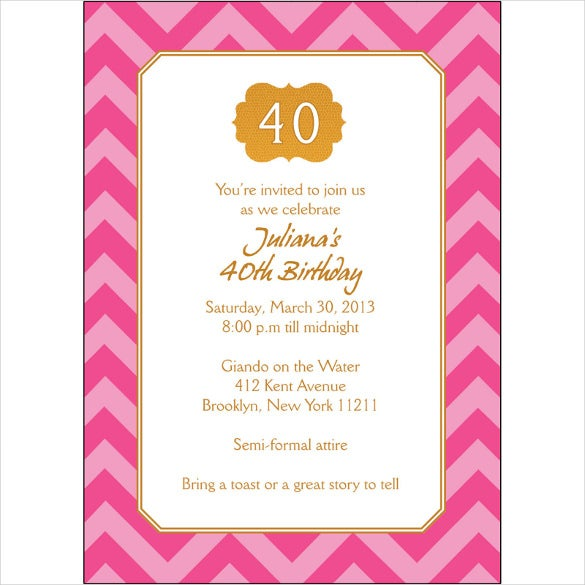 21+ 40th Birthday Invitation Templates – Free Sample, Example ...