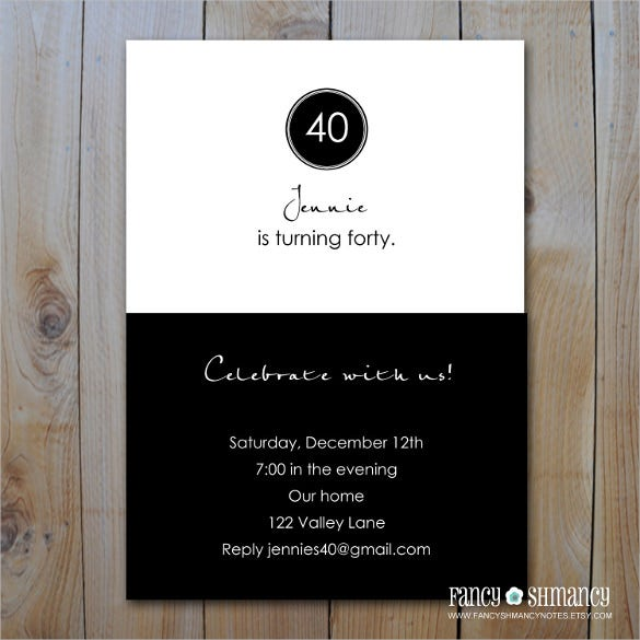 Elegant Black And White Printable 40th Birthday Invitation