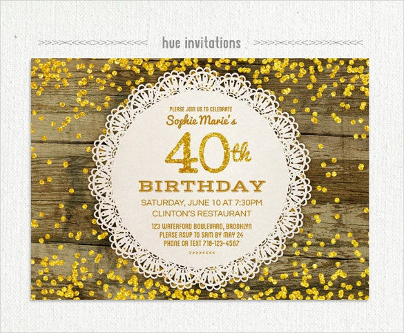 Lace Doily Gold Glitter 40th Birthday Invitation