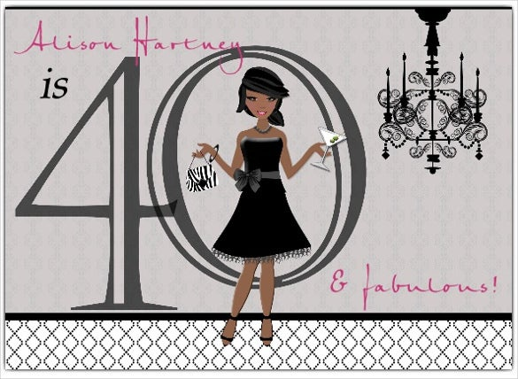 chic gal african american 40th birthday invitations