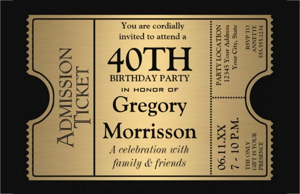 Golden Ticket Style 40th Birthday Party Invitation