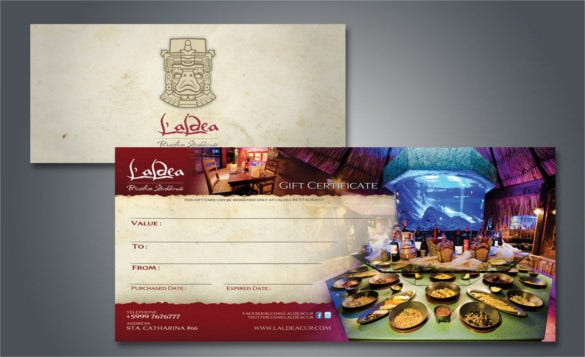 simple restaurant gift certificate template download