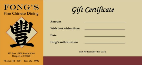 Fongs Restaurant Gift Certificate Sample Template Download
