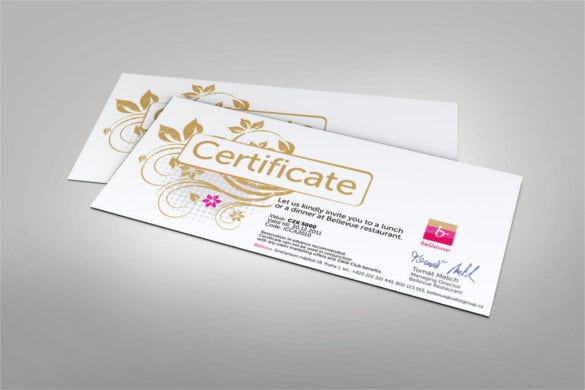 beautiful restaurant gift certificate template download