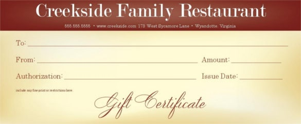 Example Of Family Restaurant Gift Certificate Template  Gift Certificate Samples