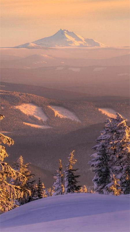 Distant Mountain Winter Ski Slope IPhone 6 Plus HD Wallpaper