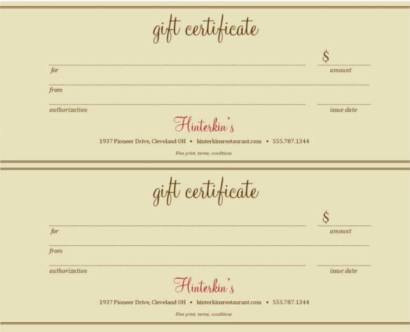 sample restaurant gift certificate template