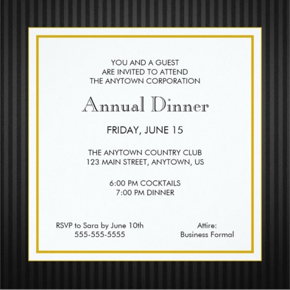 black gold business professional dinner invitation