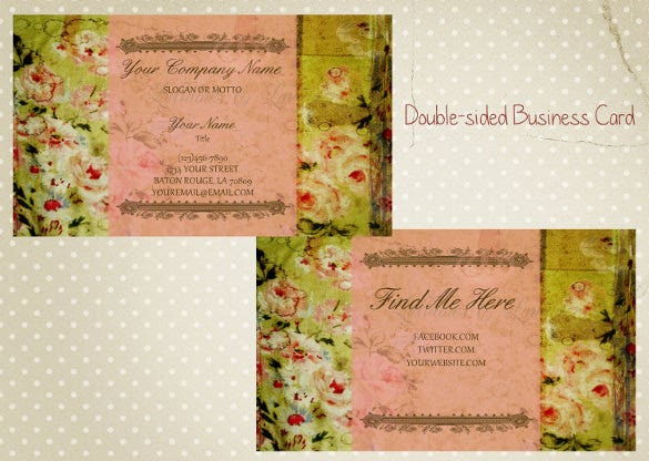 double sided business card shabby chic business card business card