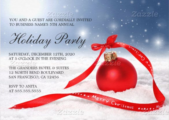 corporate business christmas party invitations