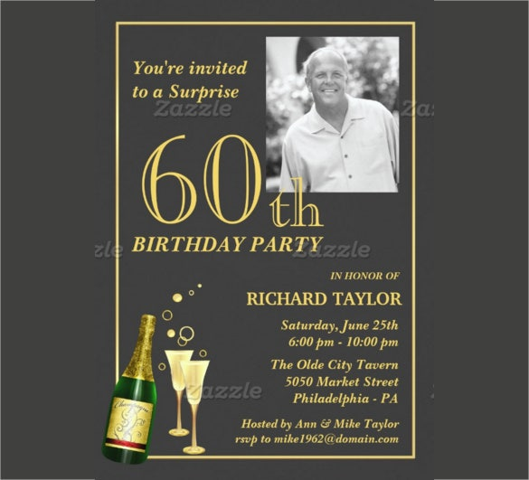 Customized 60th Birthday Party Invitation With Customizable Photograph
