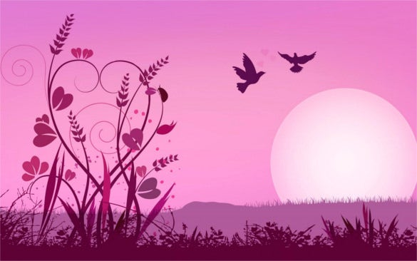 pink love backgrounds with birds download for free