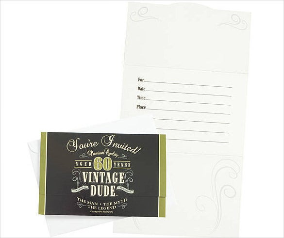 vintage dude male 60th birthday invitation card