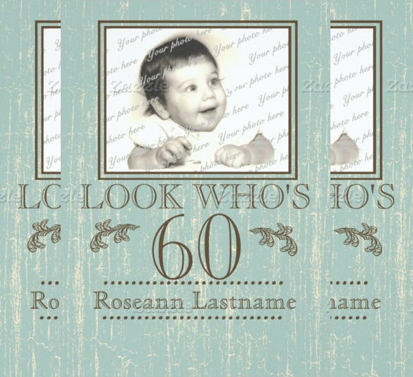 blue wood style 60th birthday photo paper invitation card
