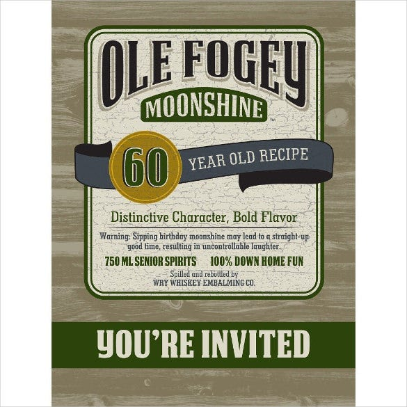 ole fogey moonshine 60th birthday invitation