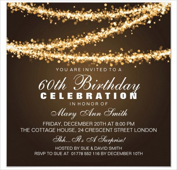 elegant gold string lights 60th birthday invitations