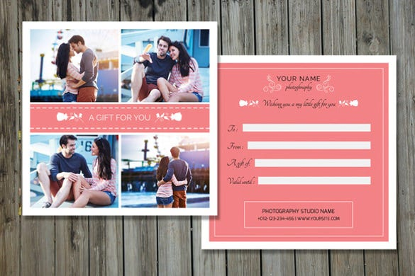 photographer gift certificate photoshop template download - Free Printable Photography Gift Certificate Template