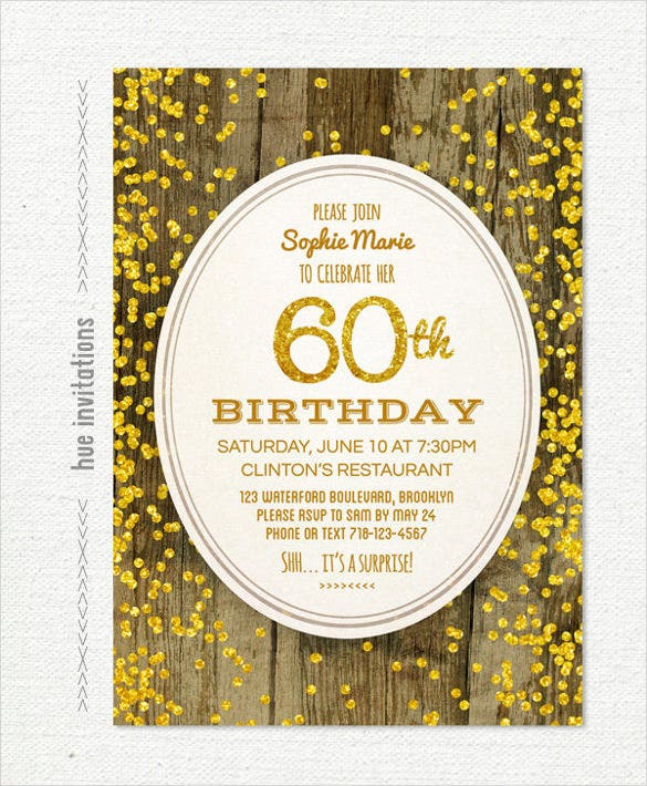 woodgrain gold glitter 60th birthday invitation pdf printable file