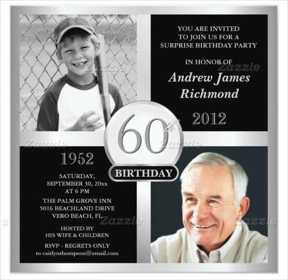 60th Birthday Invitations With Custom Two Photograph