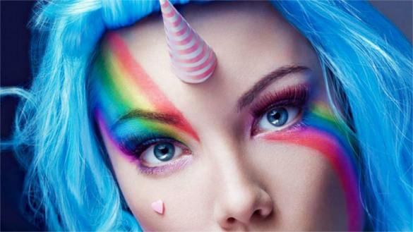rainbow unicorn lady background template free download