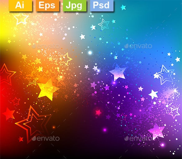 rainbow background with colorful stars psd format download