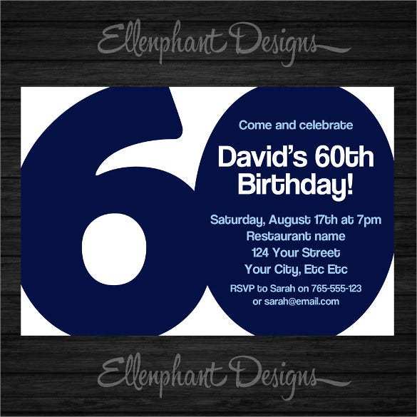Blue And White 60th Birthday Invitation For Male