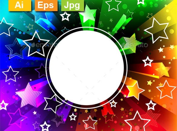 radiant rainbow background with bright stars ai format