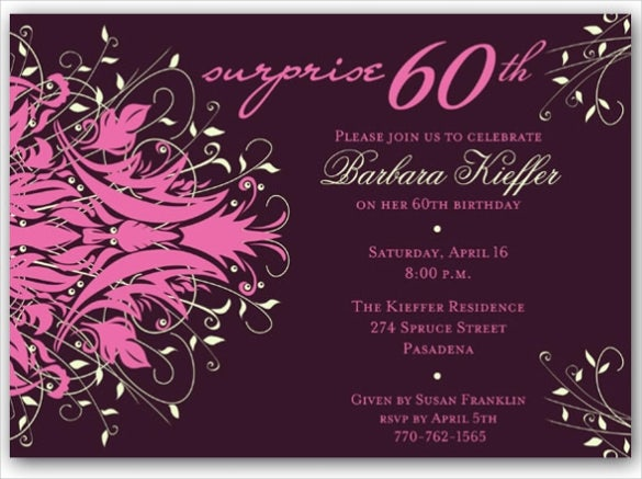 andromeda pink surprise 60th birthday invitation