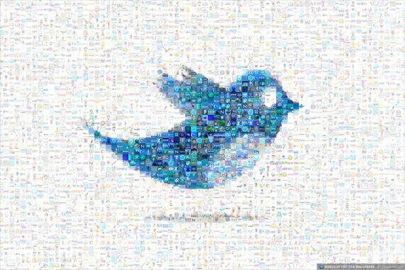 free twitter bird mosaic background
