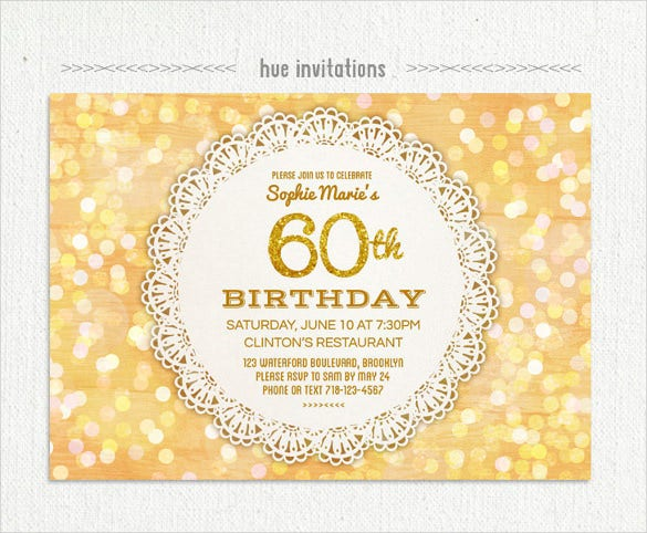 Lace Doily Gold Glitter 60th Birthday Invitation