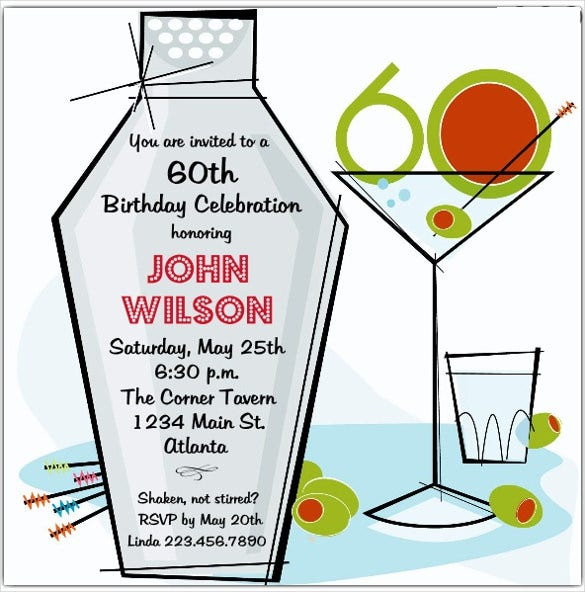 retro martini 60th birthday invitations