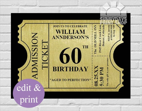 Gold Ticket Style 60th Birthday Invitation Template  Invitation Birthday Template