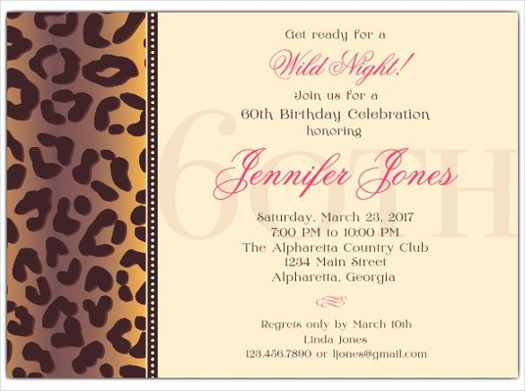 cheetah 60th birthday invitations for women
