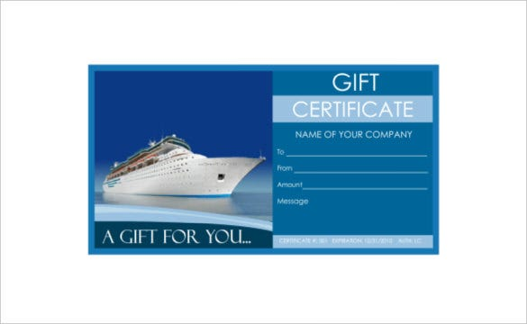 Travel gift certificate templates 9 free word pdf psd giftcarddesigner this gift certificate template is designed especially for cruises available in pdf format this sample has a good design and layout yadclub Choice Image