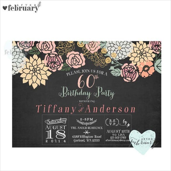 charcoal black 60th birthday invitation for any ages