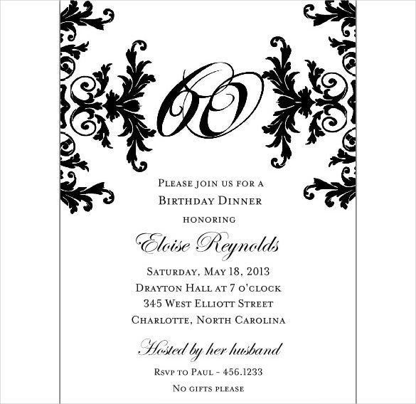 Black And White Decorative Framed 60th Birthday Invitations