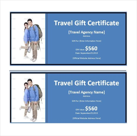 Travel Gift Certificate Templates  Free Sample Example