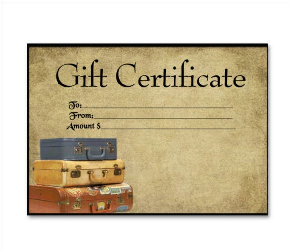 7 Travel Gift Certificate Templates Free Sample Example – Fillable Gift Certificate Template