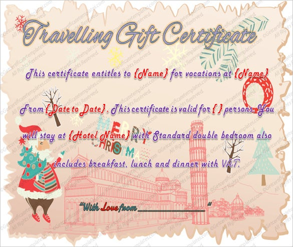 7 Travel Gift Certificate Templates Free Sample Example – Free Holiday Gift Certificate Templates