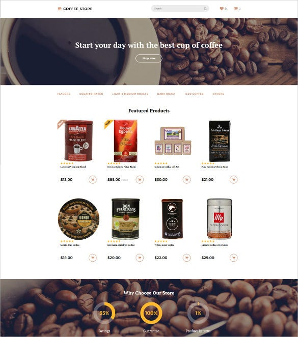 coffee store opencart html5 template