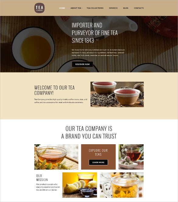 tea shop responsive moto cms 3 html5 template