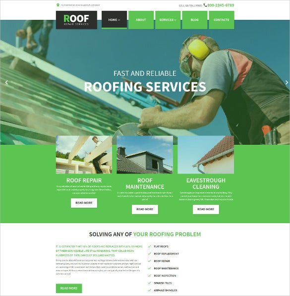 roof repair wordpress html5 theme