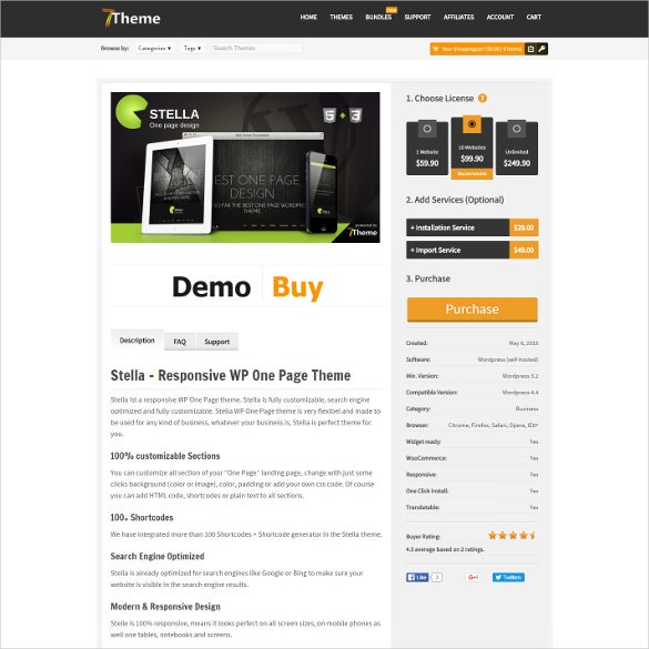 stella one page wordpress html5 theme