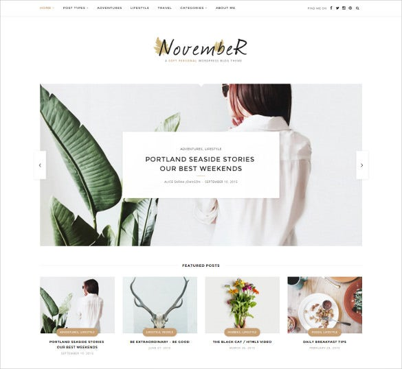 november soft personal blog html5 theme