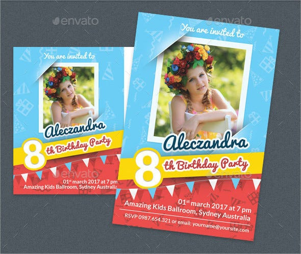 editable photo birthday invitation template