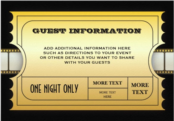 annual movie awards party golden ticket insert paper invitation card