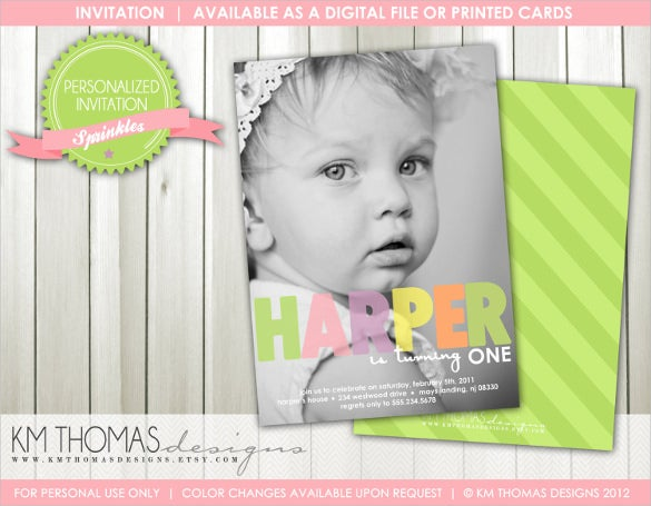 elegant girl photo birthday invitation template